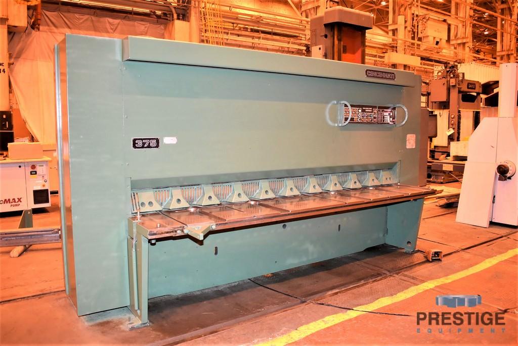 "3/8"" x 10' Cincinnati 375 x 10, Hyd., Micro-Computer Shear Ctrl., 36"" Back Gauge, 10' Sq. Arm, 1985 #30614"