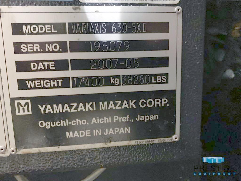 "Mazak Variaxis 630 5-Axis, 2APC, X-24.8"", Y-30"", Z-24"", 19.7"" Pallets, Trunnion Rot Tbl, 120 ATC, 12K RPM, TSC #31180"