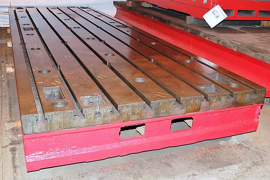 """78"""" x 236"""" x 16.5"""" T-Slotted, 8 T-Slots on 10"""" Centers, 16.55"""" Thick, Cast Iron, #27522"""
