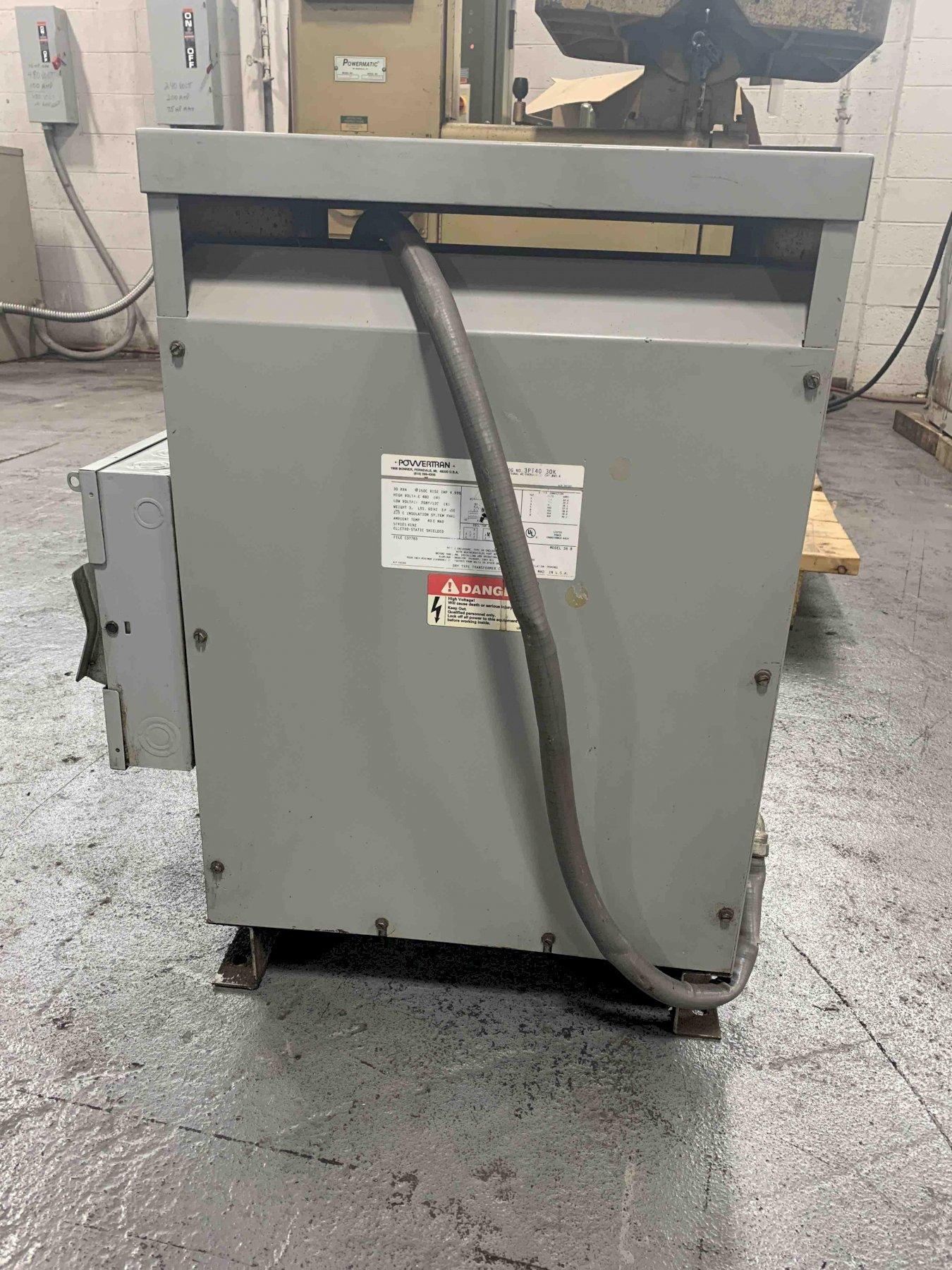 USED POWERTRAN 30 KVA 208 TO 480 VOLT TRANSFORMER MODEL 36B, Stock # 10750