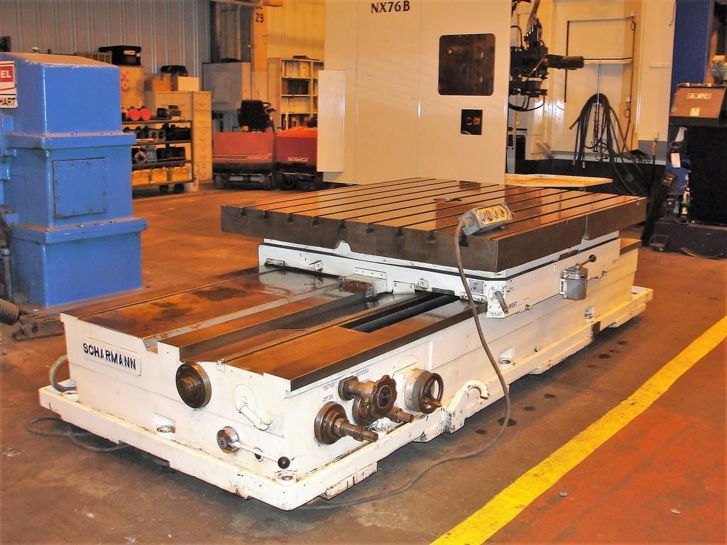 "71"" x 63"" Scharman DAV1600 Power Infeeing Rotary Table, 25K lb Capacity, 75"" Infeed, Pendant, #24699"
