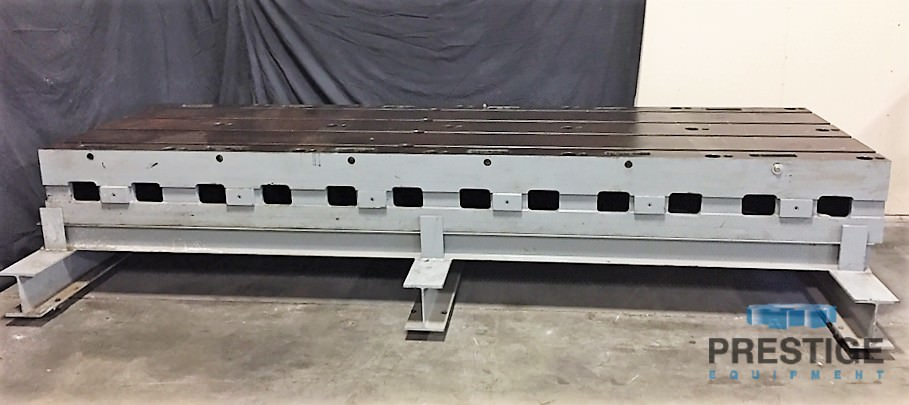 """T-Slotted Fixture Plate, 48"""" x 147"""" x 13.5"""", 4 T-Slots, 12"""" Centers, 8,000 Lbs, Fabricated Riser Base, #31164"""