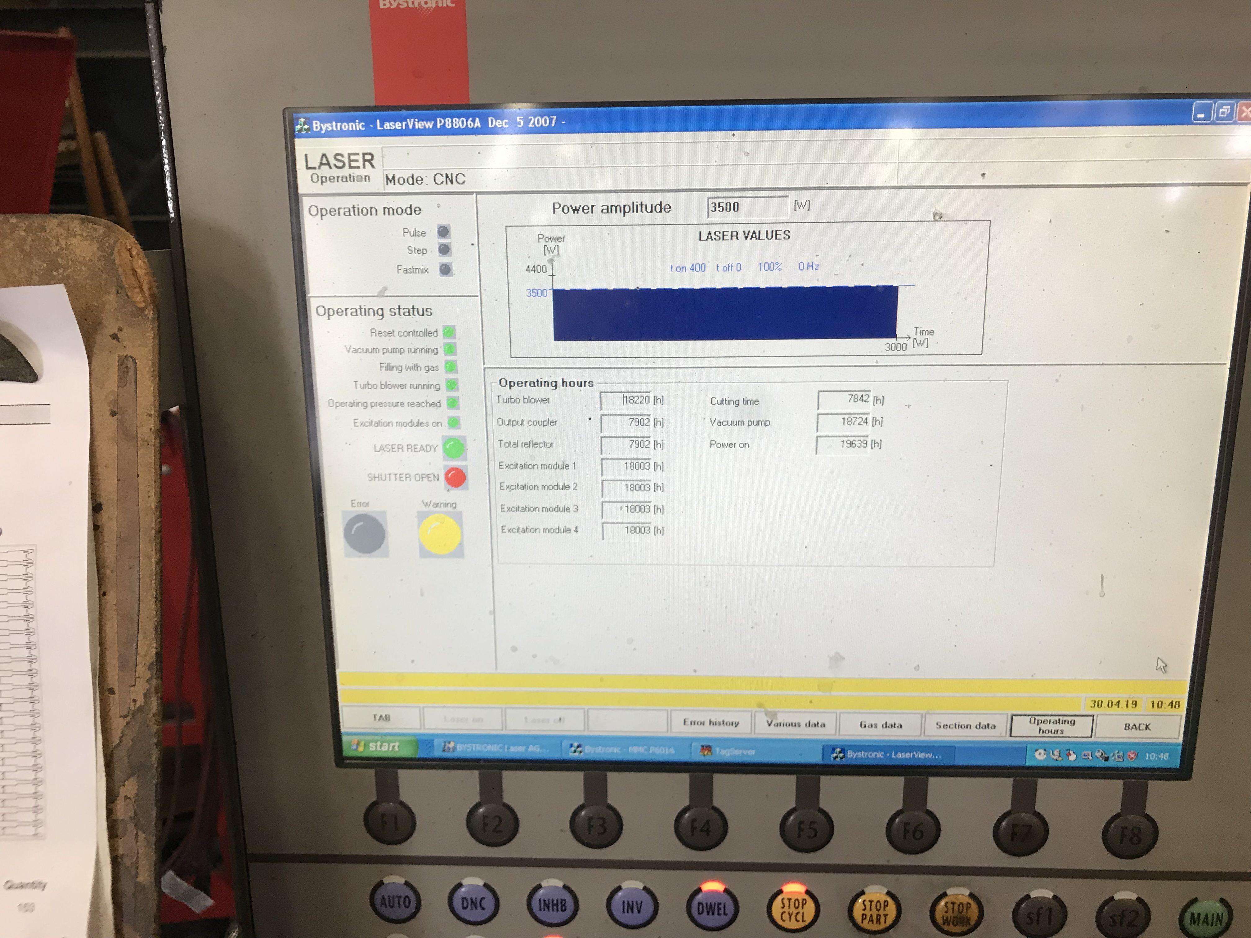 "4400 Watt Bystronic Bystar 4025, 256"" x 100"" Sheet Size, Pallet Changer, New Control 2018, #29954"