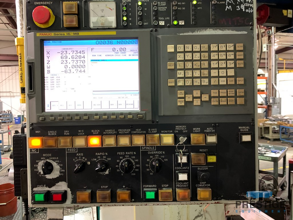 "SNK NB130P, 5.12"", X-137"", Y-98"", 63"" x 86"" B-Axis Table, Fanuc 16iMB, 60 ATC, TSC, Scales, Threading, 2007, #31255"