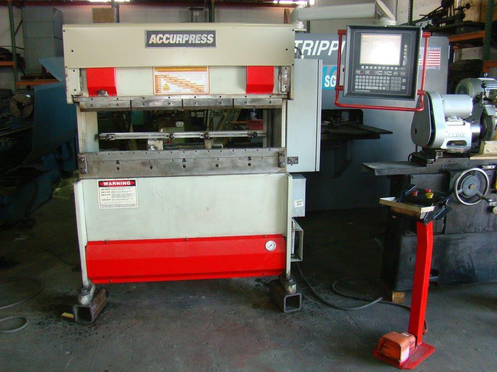 """25 Ton x 51"""" ACCURPRESS 7254 Hydraulic Brake Press, ETS 3000 3 Axis CNC Control. X,Y,R, 1999"""