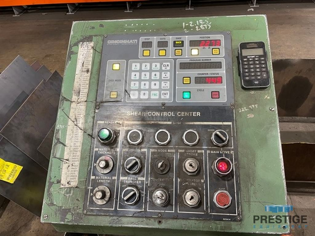 "3/4"" x 12' 6SE  Cincinnati, Control Center Upgraded 2016, 60"" B.G., (2) Squaring Arms, Conveyor, 1990, #31442"