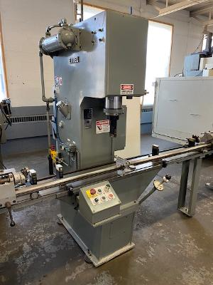 """Eitel Model RP-40 Hydraulic Straightening Press, New 2013, 44 Ton, Rolling Fixture with 120"""" Length Capacity, Table Extensions, Measuring Bracket with Indicator, Safety Guarding, Original Paint & Mint Condition!"""