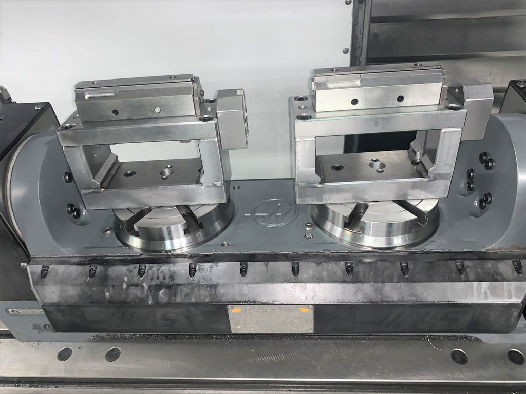 """Haas TR160/2 Trunnion Style Rotary Table, (2) 6.3"""" Platen, 105"""" Max Part Swing, A/B-Axis, 2013, #30420"""