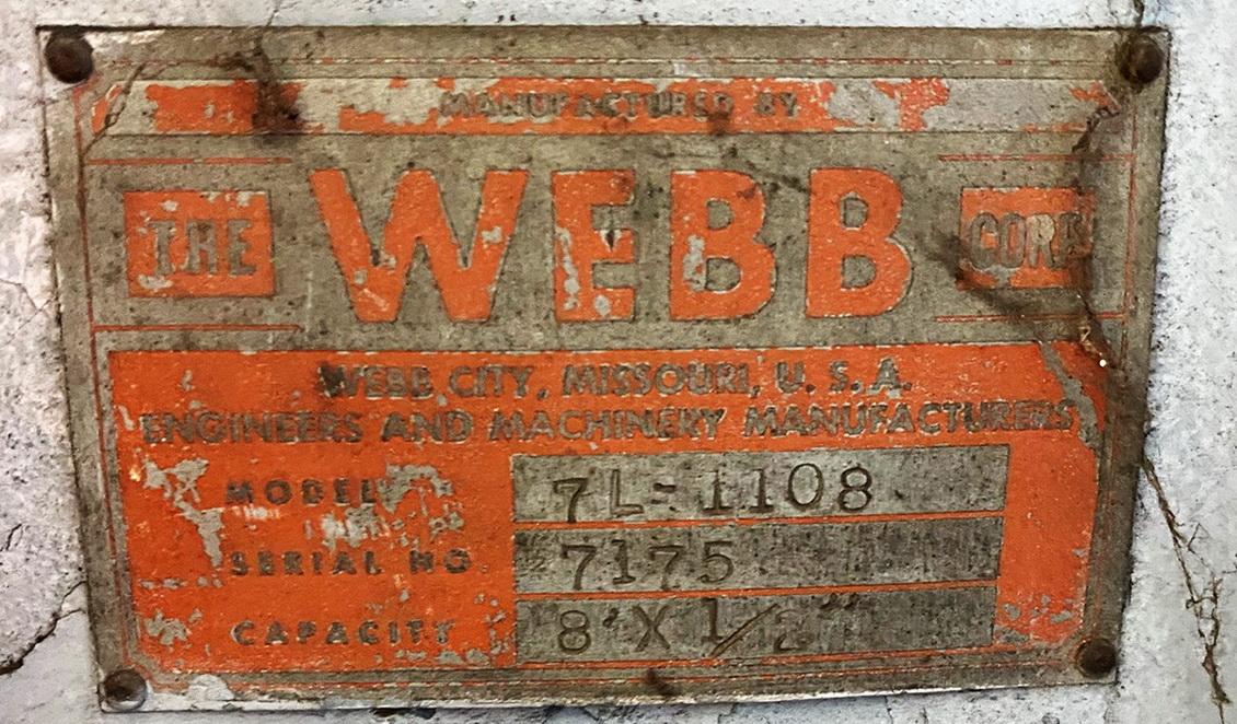 "98"" x 1/2""  WEBB 7L1108 3 Roll Mechanical Initial Pinch Plate Bending Roll"