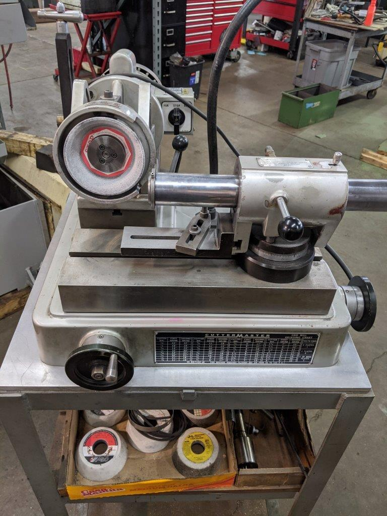 End Mill Sharpener, Cuttermaster HDT-30 with 5C Air Bearings, 45 degrees Tilt, extra wheels, tooth/flute and Vibration pads
