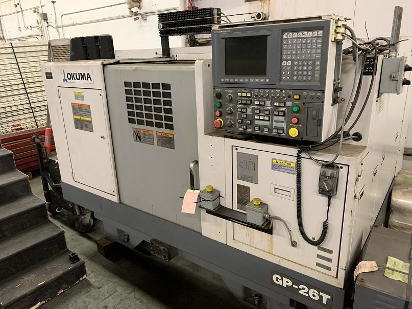 "OKUMA GP-26T CNC CYLINDRICAL GRINDER, NEW 2007, 24"" DIA WHEEL, 25.6"" CENTER DISTANCE SHOULDER GAUGE, COOLANT, OSP U10G CNC CONTROL"