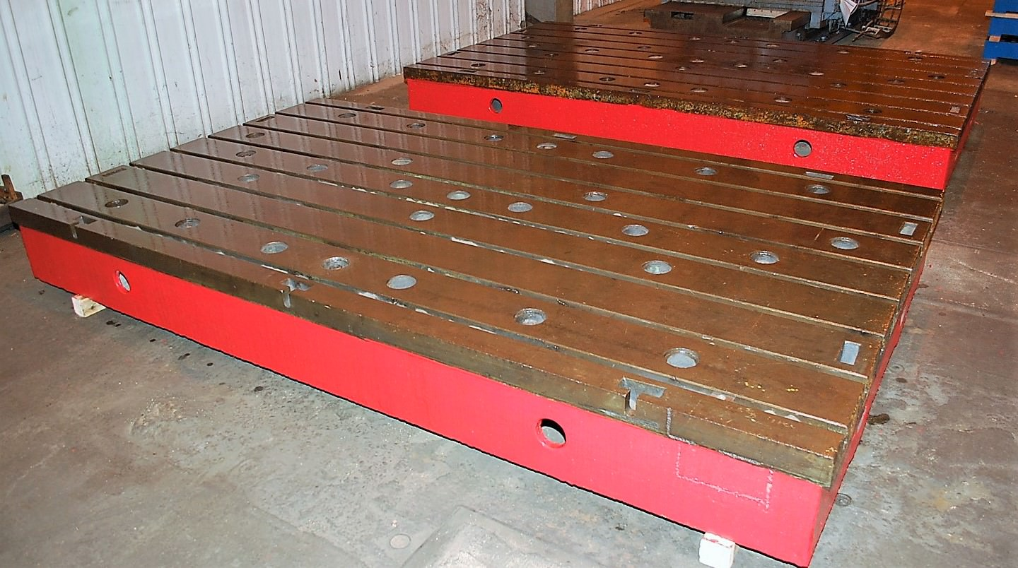 """79"""" x 139"""" T-Slotted Floor Plates, 14"""" Thick, Cast Iron, (1) Available,___ Matched, #29230"""