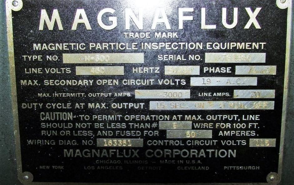 """Magnaflux Model H-600, 72""""x24"""" Bed, Type GD-54 Unit, Spot Light, 3000A Max. Output, #30247"""