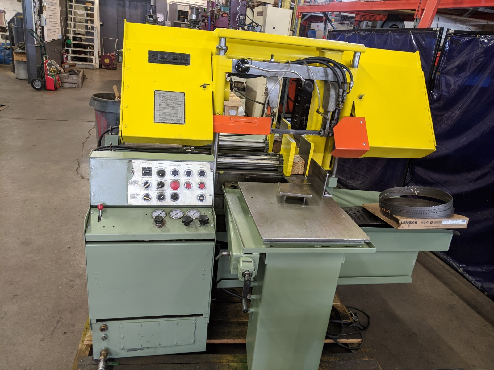 """WF Wells Fully Automatic Horizontal Dual Column Bandsaw. 10"""" x 16"""" American Made Band Saw.  10"""" Rounds Capacity, Metal Cutting Saw w/ Coolant"""