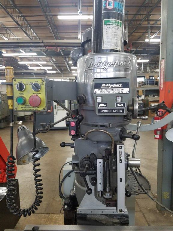 """Bridgeport Series I EZ Trak DX with Kurt power drawbar, R-8 spindle taper, 4"""" riser, Rubber way covers, """"Z"""" axis scale, work light, Bijur auto way lube system and collet rack"""