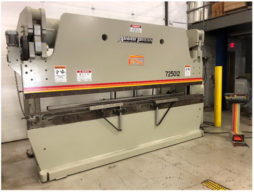"""250 Ton x 144"""" ACCURPRESS 725012 Hydraulic Brake Press, ETS 200  2 Axis Pedestal Programmable Backgauge and Ram Control. 4 Way Bottom Die, 1999"""