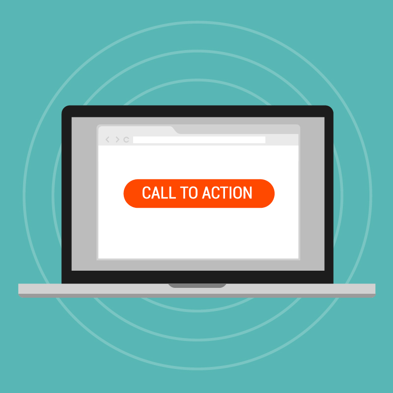 orange call to action button on laptop