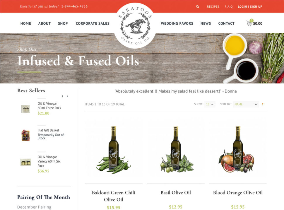 Screenshot of Saratoga Olive Oil eCommerce Product Page