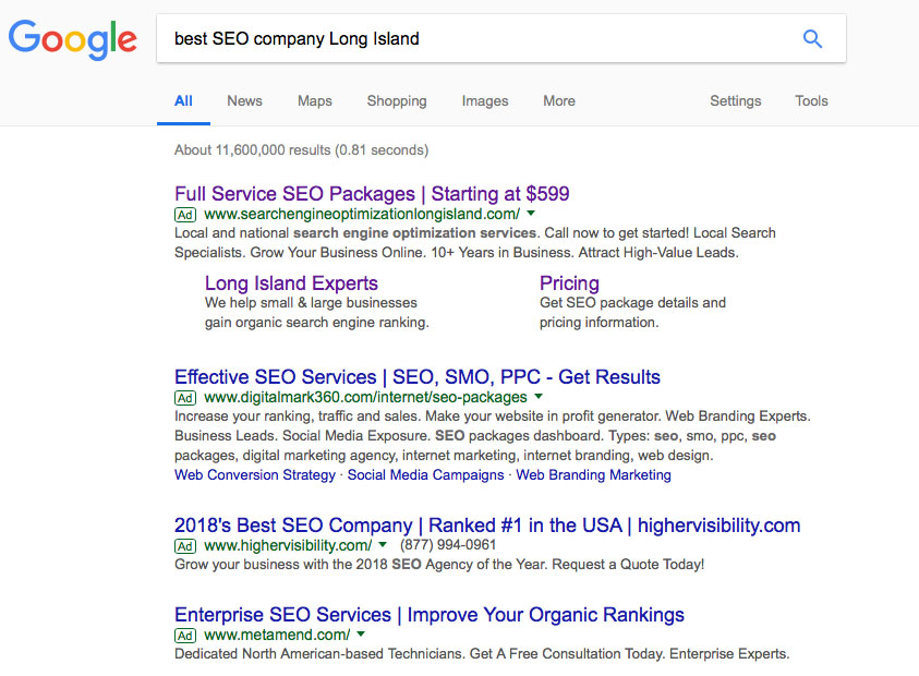 Screen shot of Google AdWords results