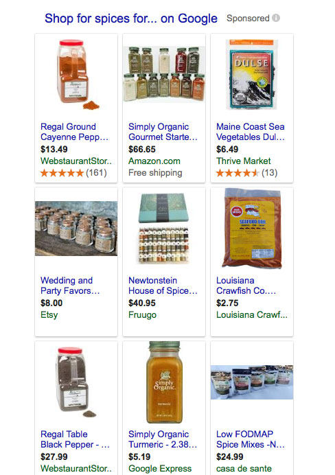 Screenshot of Google Shopping results
