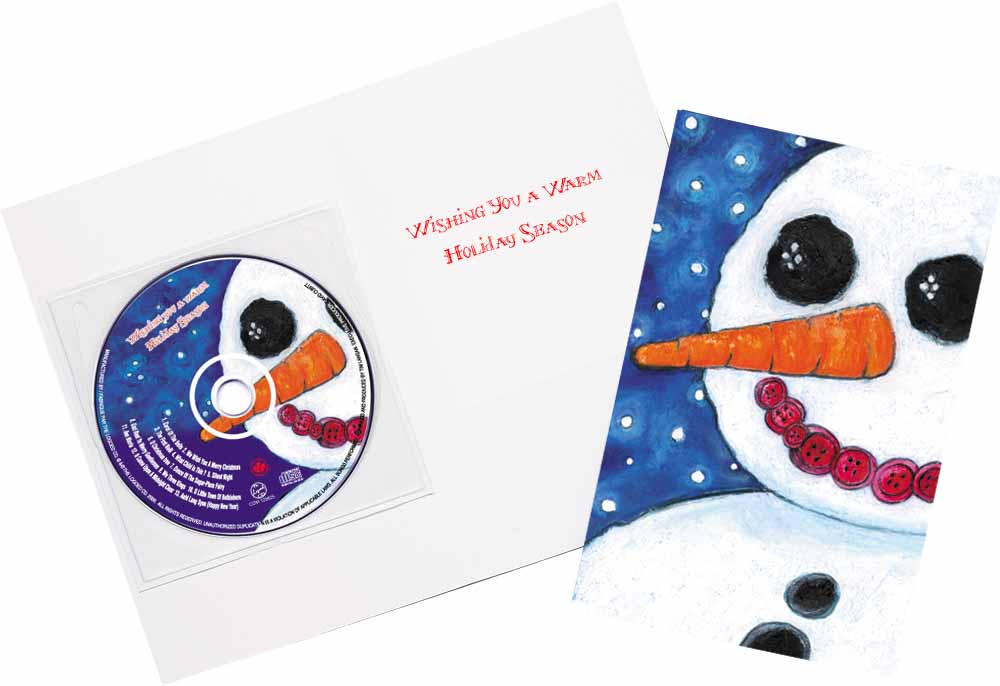 CD Christmas Music Snowman Greeting Card Image