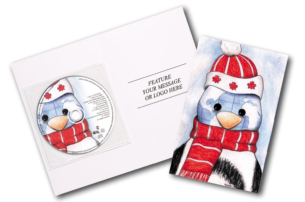 CD Christmas Music Penguin Greeting Card Image