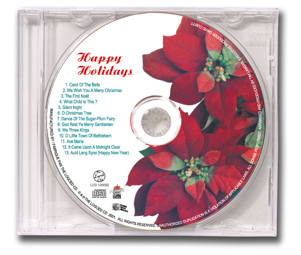 CD Christmas Music Clear Jewel Case Poinsettia Image