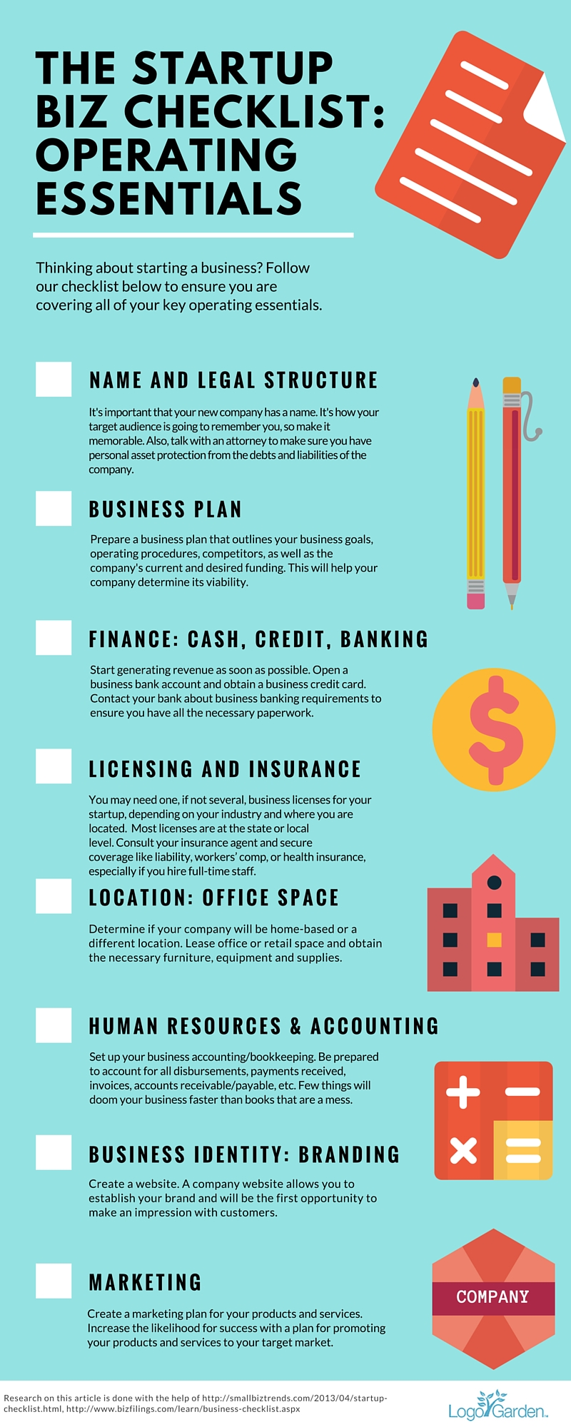 Infographic for a startup business checklist.
