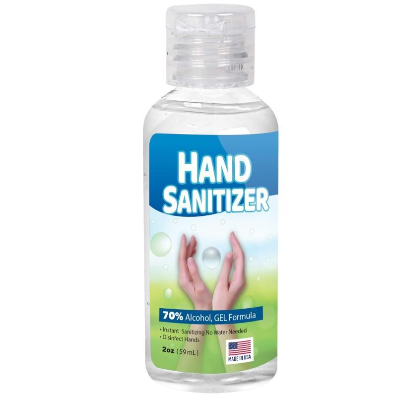 Custom Label GEL Hand Sanitizer 2oz Bottle 70% Alcohol USA Made