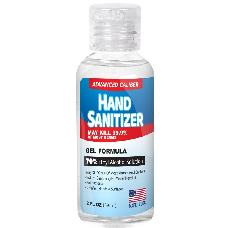 Advanced Caliber GEL Hand Sanitizer 2oz Bottle 70% Alcohol USA M