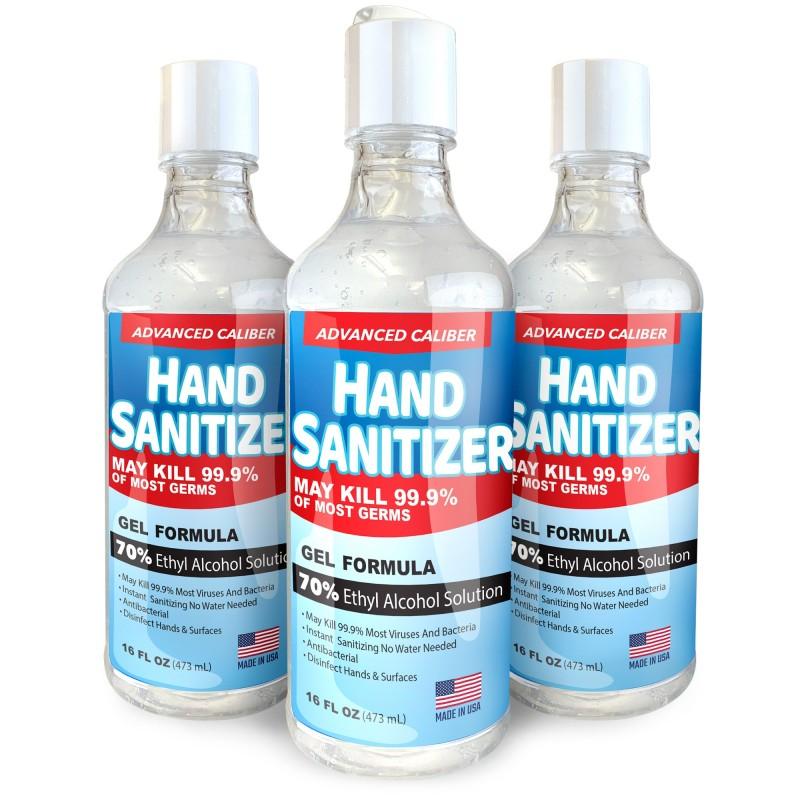 Advanced Caliber GEL Hand Sanitizer 16oz Flip-Cap Bottle 70% Alc