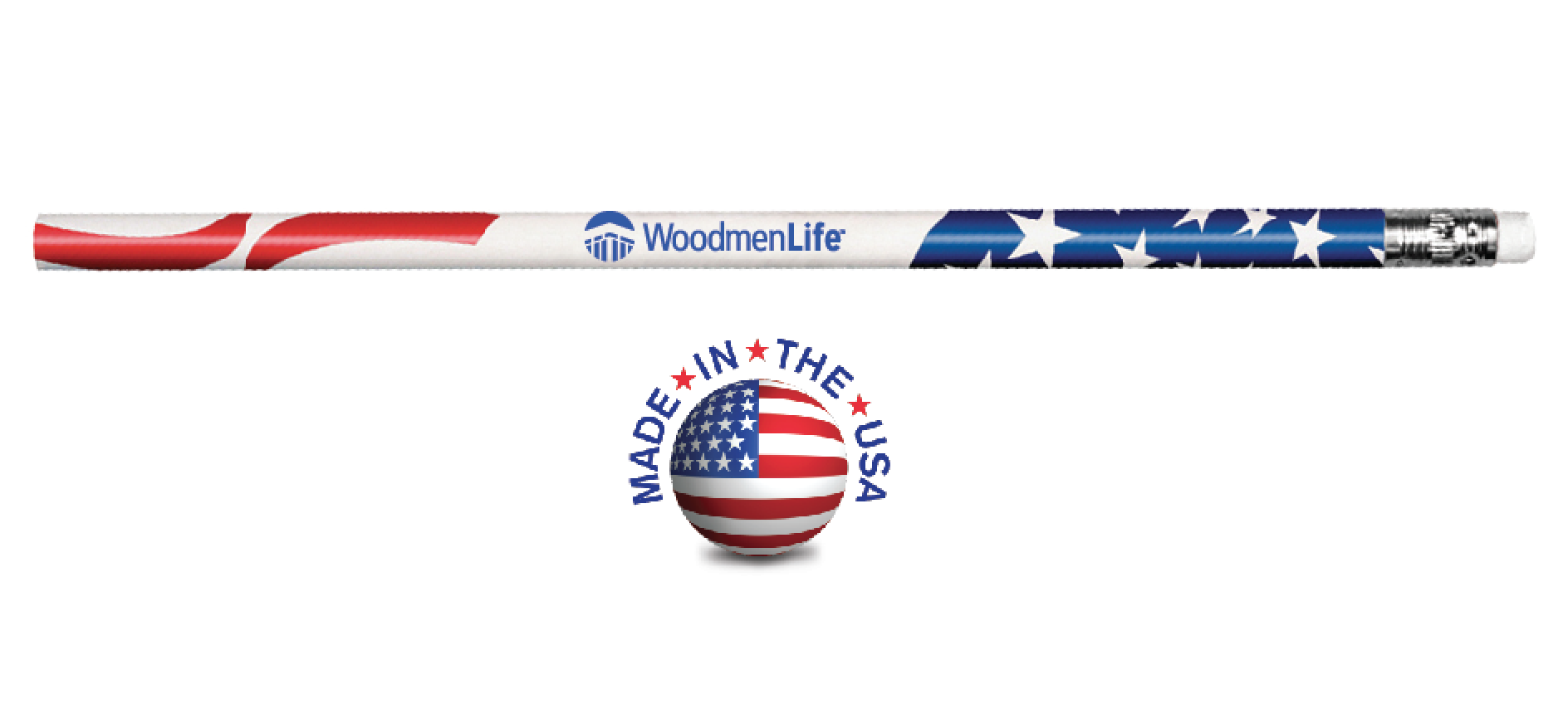 Patriotic Foil Wrapped Pencil - Made in USA