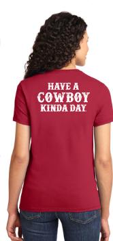 Cowboy Kinda Day Adult Ladies Short Sleeve T-Shirt