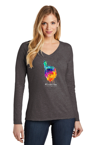 District Women's Long Sleeve Tee -Full Color #SameHere Hand Logo