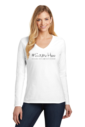 District Women's Long Sleeve Tee - #SameHere Text Logo