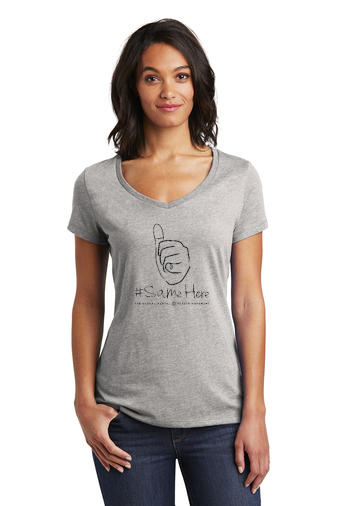 District Women's V-Neck Tee - 1-Color #SameHere Hand Logo