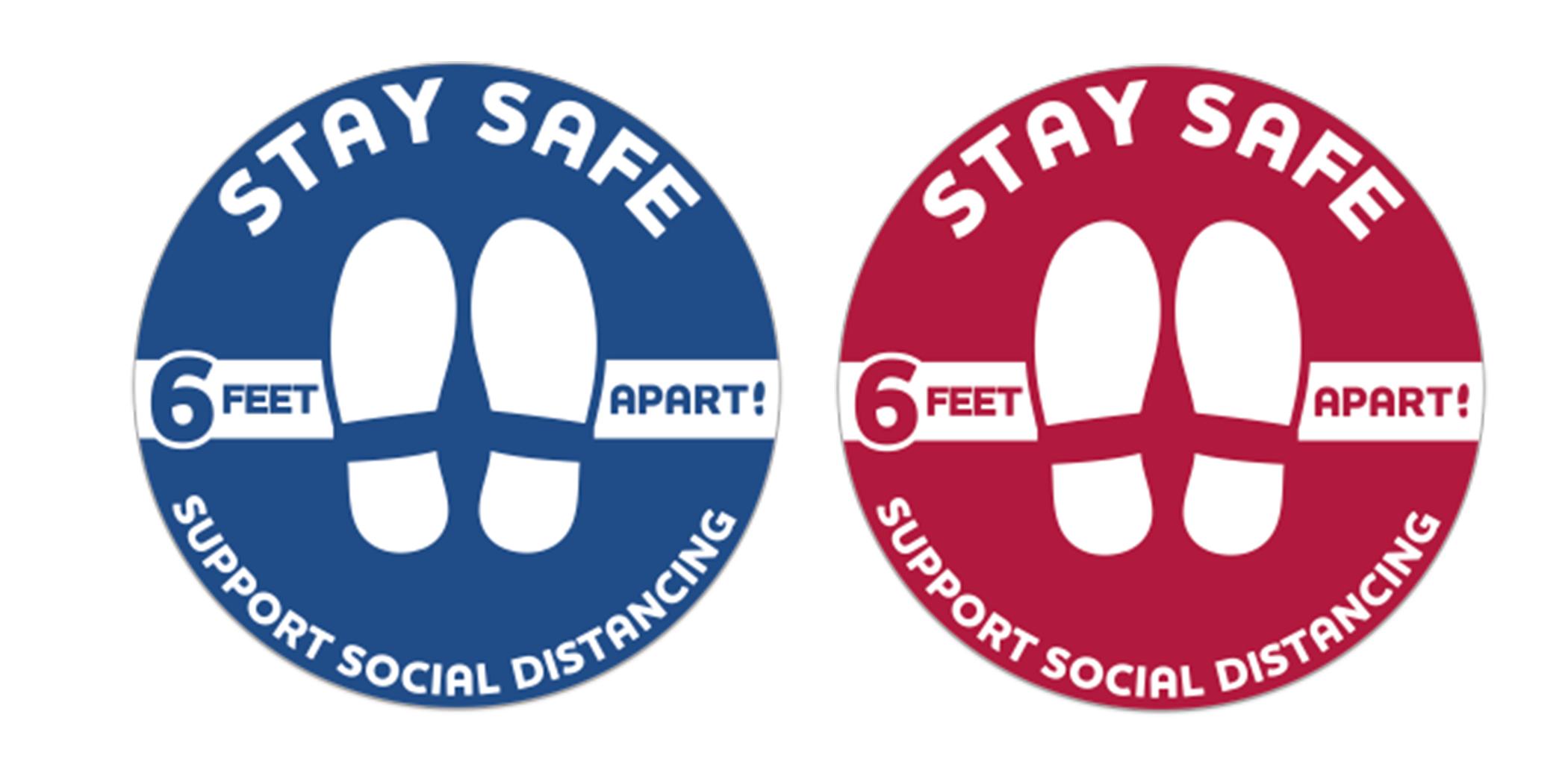 Stay Safe Floor Decals - Round