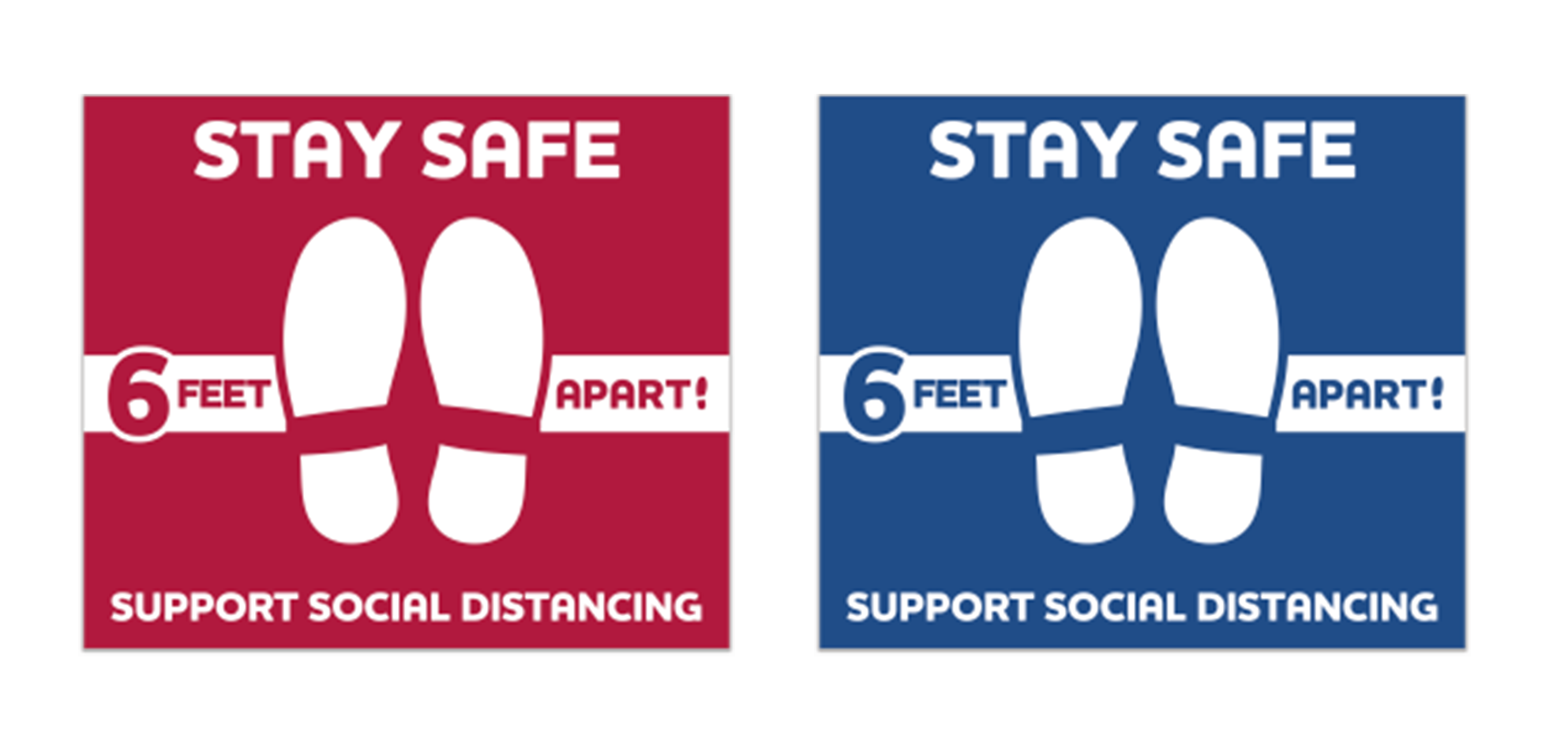 Stay Safe Floor Decals - Square