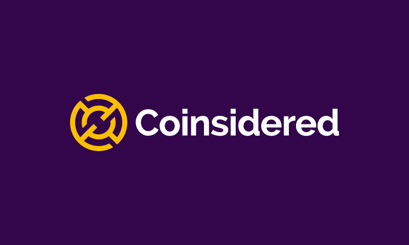 Coinsidered - Cryptocurrency company name for sale