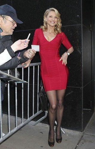 woman in red bodycon dress