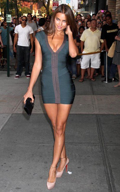 green front zip herve leger dress