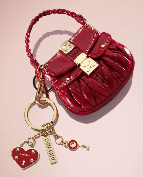 dark red tiny detailed bag