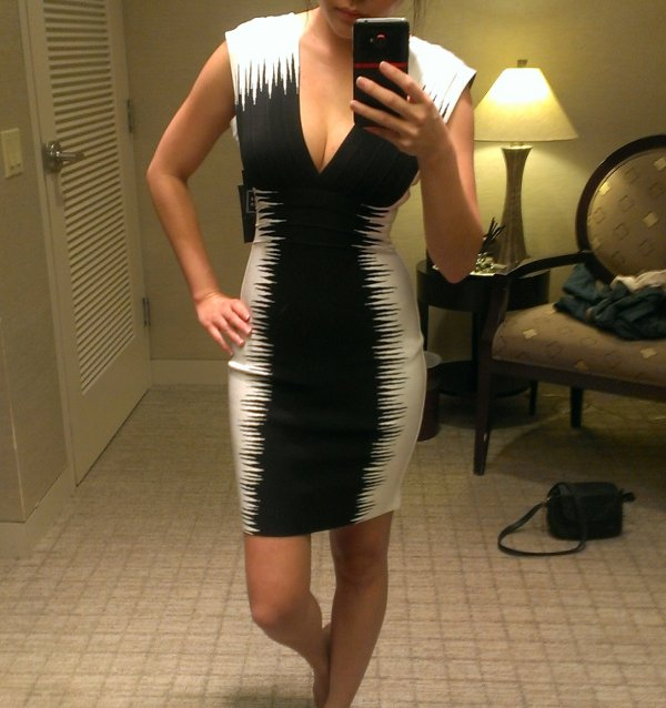 Herve Leger black white barbie dress