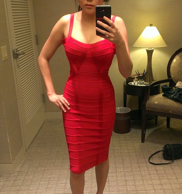 Herve Leger red barbie dress