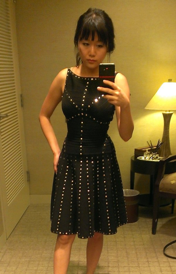 black studded flared Herve Leger knee length dress