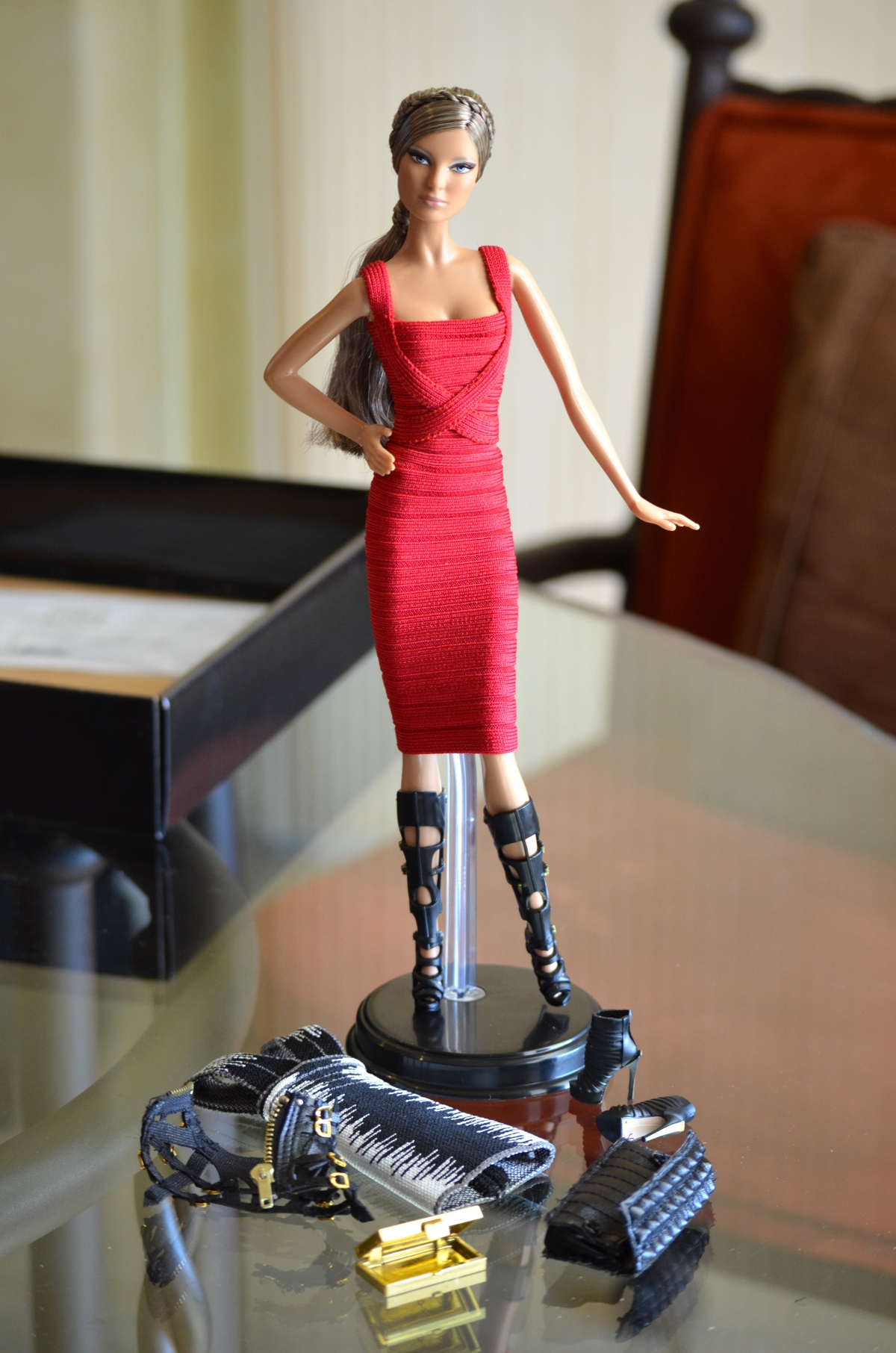 Herve Leger barbie doll with shoes harness clutch