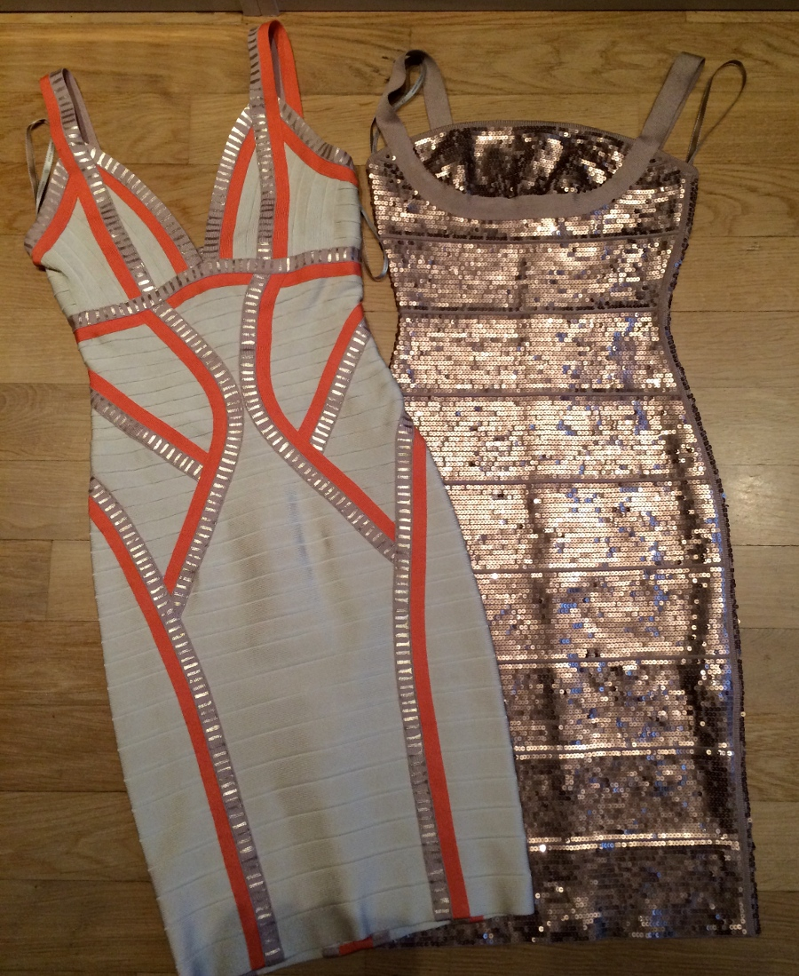 gold sequin dress and orange and cream dress