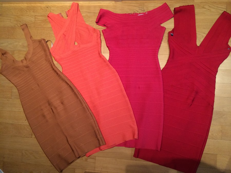 red pink Herve Leger dress collection