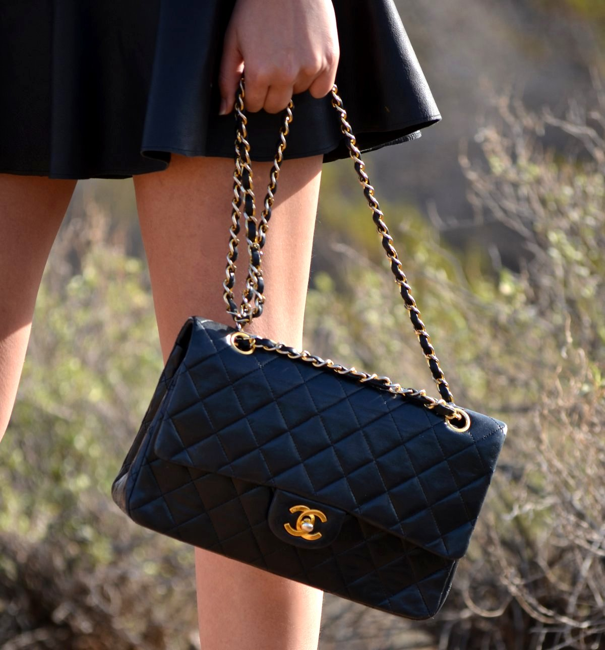 black vintage 2.55 double flap classic chanel bag