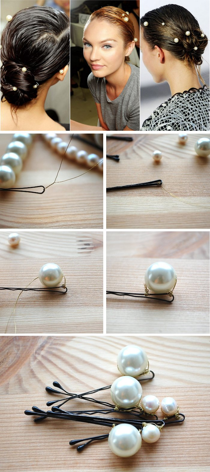 How to make big pearl hair pin